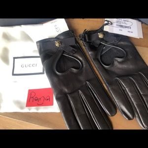 GUCCI black leather gloves large authentic